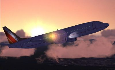 Screenshot of SWA Silver One Boeing 737-400 SV1 in flight.