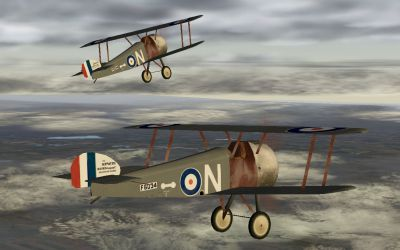 Two Sopwith Camel's flying side by side.