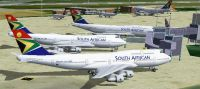 Screenshot of South African Airways Boeing's on the ground.