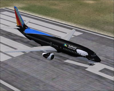 "Screenshot of Southwest Airlines Boeing 737-400 ""Shamu"" on runway."