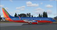 Screenshot of Southwest Airlines Boeing 737-700 on the ground.