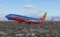 Screenshot of Southwest Airlines Boeing 737-700 in flight.
