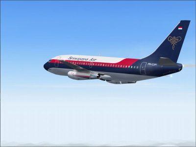 Screenshot of Sriwijaya Boeing 737-200 in flight.