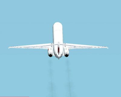 Screenshot of Swiss McDonnell Douglas MD-83 trailing smoke.