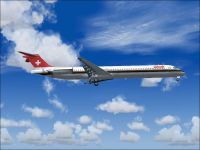 Screenshot of Swissair McDonnell Douglas MD-83 in flight.