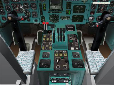 View of Tupolev Tu-154 B-2 cockpit.