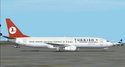 Screenshot of Turkish Boeing 737-400 on the ground.