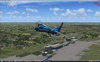 Plane flying over Tolmachevo, Novosibirsk.