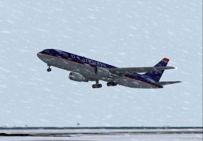 US Airways Boeing 767-201ER landing in snowy weather conditions.