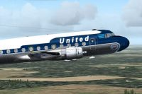 Screenshot of United Airlines Douglas DC-4 in flight.