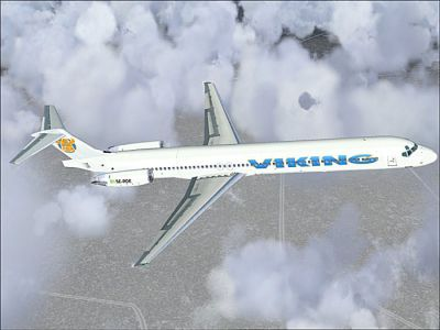 Screenshot of Viking Airlines MD-83 in flight.