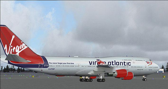 Screenshot of Virgin Atlantic Boeing 747-400 on the ground. & Virgin Atlantic Boeing 747-400 for FS2004