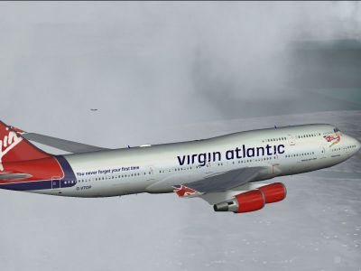 Screenshot of Virgin Atlantic Boeing 747-400 in flight.
