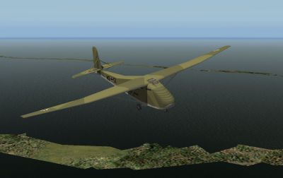 Me 321B-1 in the air over water.