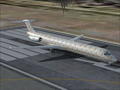 Screenshot of Xmas McDonnell Douglas MD-83 on runway.