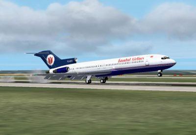 Ystanbul Airlines Boeing 727-2F2 landing on runway.