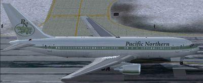 Pacific Northern Boeing 767-200ER on runway.