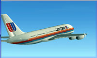 Screenshot of 1974 United Airlines Airbus A380 in flight.