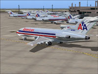Screenshot of American Airlines jetliner on the ground.