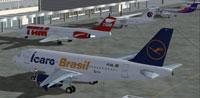 Screenshot of Icaro Brasil A319 on the ground.