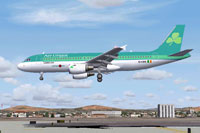 Screenshot of Aer Lingus Airbus A320 on landing approach.