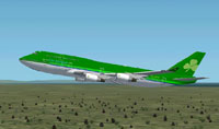 Screenshot of Aer Lingus Boeing 747-400 in flight.