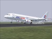 Screenshot of Aero Lloyd Airbus A320-232 landing on runway.
