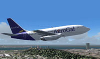 Screenshot of Aerogal Ecuador Boeing 737-200 in flight.