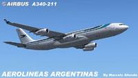 Screenshot of Aerolineas Argentinas Airbus A340-211 in flight.