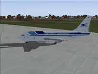 Screenshot of Aerolineas Argentinas Boeing 737-287 on the ground.