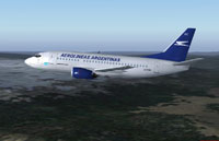 Screenshot of Aerolineas Argentinas Boeing 737-500 in flight.