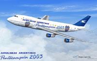 Screenshot of Aerolineas Argentineas Boeing 747-200 in flight.