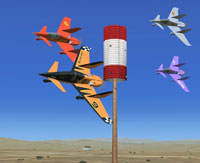 Screenshot of Aeroworks ARX-6 Roadrunners flying past a checkpoint.