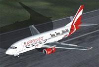 Screenshot of Air Asia Boeing 737-300 on runway.