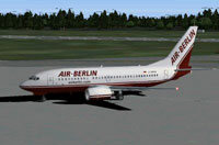 Screenshot of Air Berlin Boeing 737-700 on the ground.