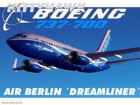 Screenshot of Air Berlin Dreamliner Boeing 737-800 in flight.
