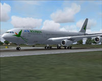 Screenshot of Air Bourbon Airbus A340-200 on the ground.