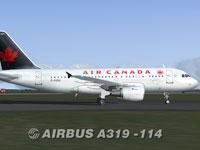 Screenshot of Air Canada Airbus A319-114 on runway.