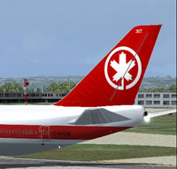 Tail decal of Air Canada Boeing 747-223BM.