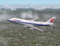 Screenshot of Air China Boeing 747-400 in flight.