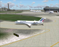 Screenshot of CRJ-200 taxiing to runway.