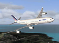 Screenshot of Air France Airbus A340-300 in flight.
