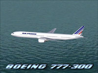 Screenshot of Air France Boeing 777-300 flying over water.