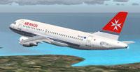 Screenshot of Air Malta Airbus A319-112 in flight.