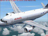 Screenshot of Air Malta Airbus A319-114 in flight.