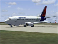 Screenshot of Air Sahara Boeing 737-500 on the ground.