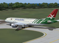 Screenshot of Air Seychelles Airbus A300B4-203 taxiing to runway.