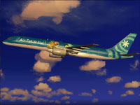 Screenshot of Air Tahiti Nui Boeing 757-200 in flight.