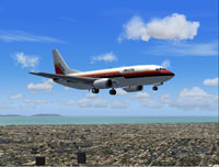 Screenshot of AirCal Boeing 737-300 in flight.
