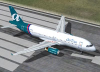 Screenshot of AirTran Airbus A320 on runway.